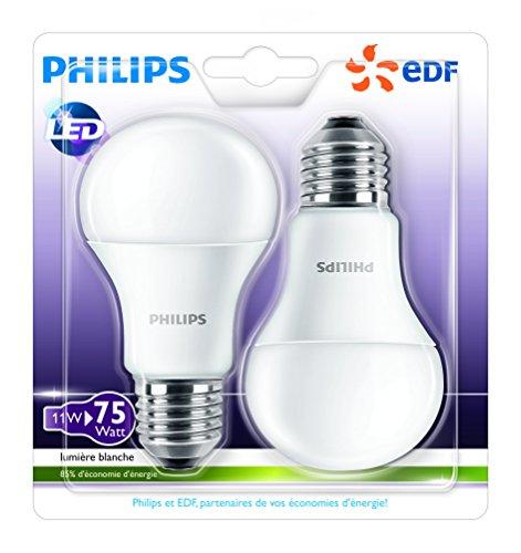 Lot de 2 Ampoules LED Philips E27 11W (75W)
