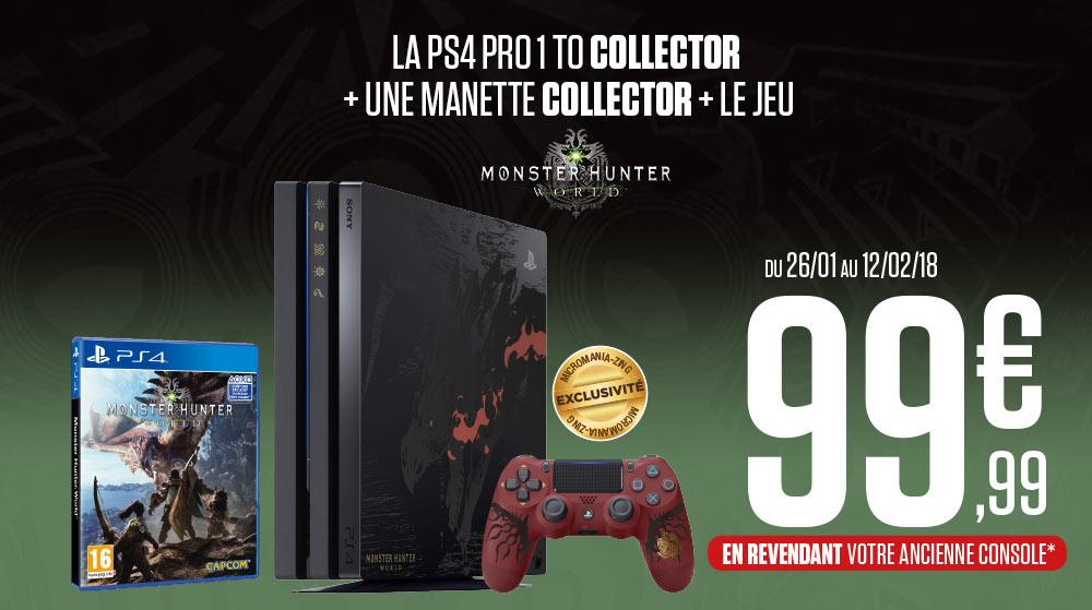 Console Sony PS4 Pro Collector Rathalos Edition + Monster Hunter World à partir de 99€ en revendant votre ancienne console