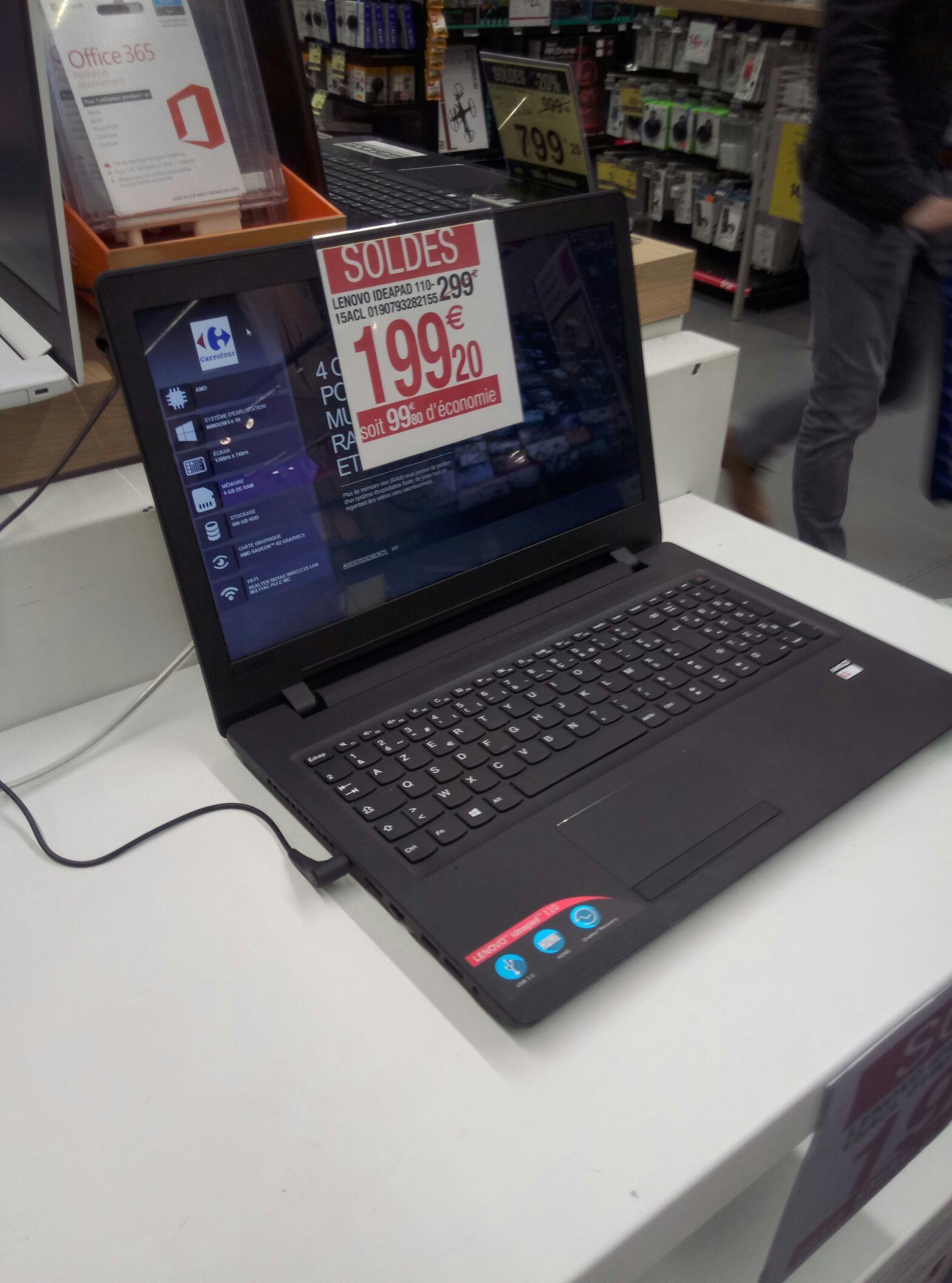 Sélection de Produits en Soldes - Ex: PC Portable Lenovo Ideapad 110-15ACL (RAM 4Go, 500Go) - Écully (69)