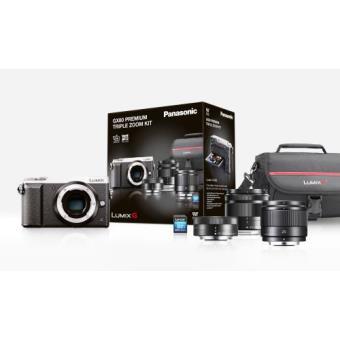 Pack appareil photo hybride à objectif interchangeable Panasonic Lumix DMC-GX80 (16 Mpix, Live MOS) + objectifs 25 mm + 12-32 mm + 35-100 mm + carteSDHC (8 Go) - frontaliers Belgique