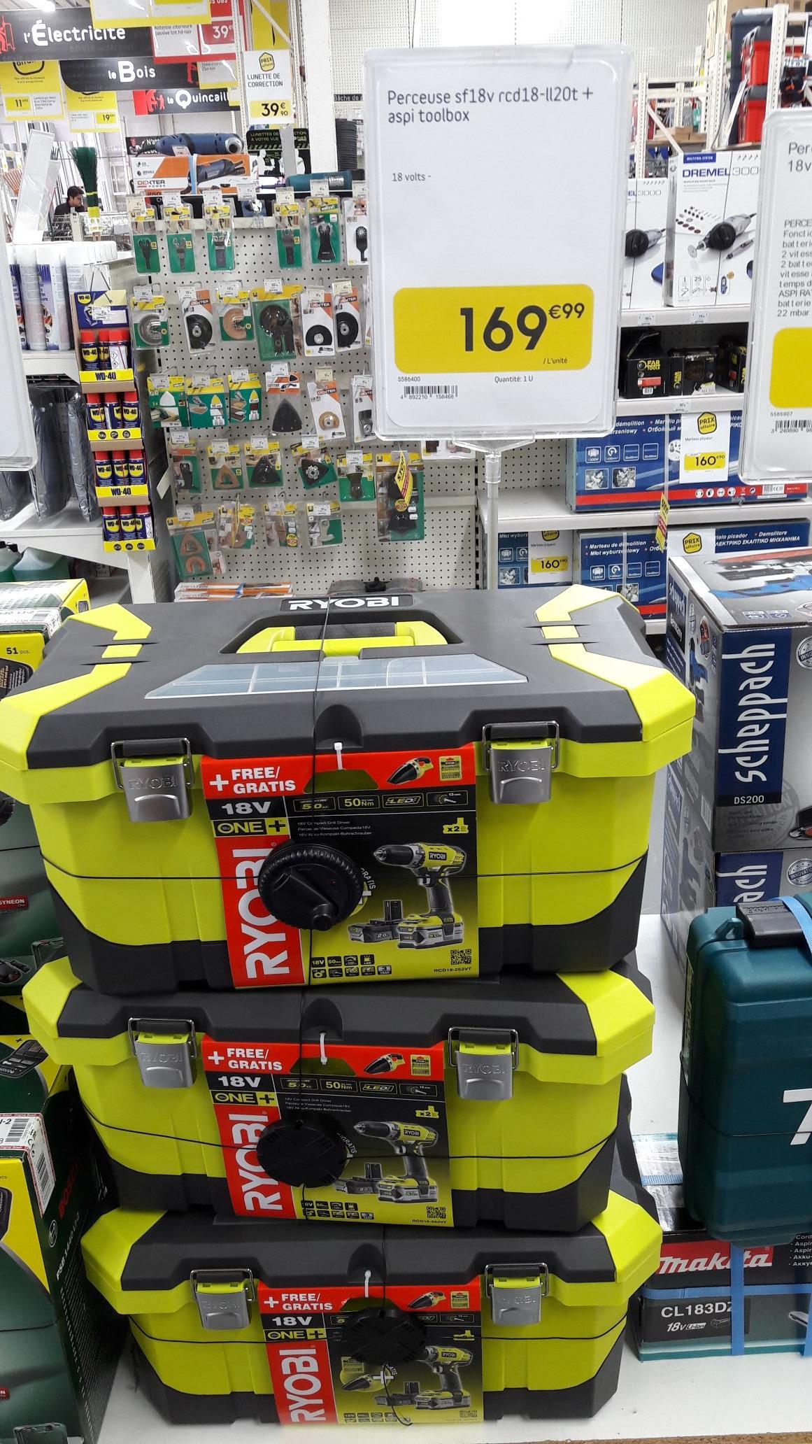 Perceuse visseuse Ryobi 18v + aspirateur à main sans-fil + 1 batterie de 5.0ah et 1 de 2.0ah (weldom)