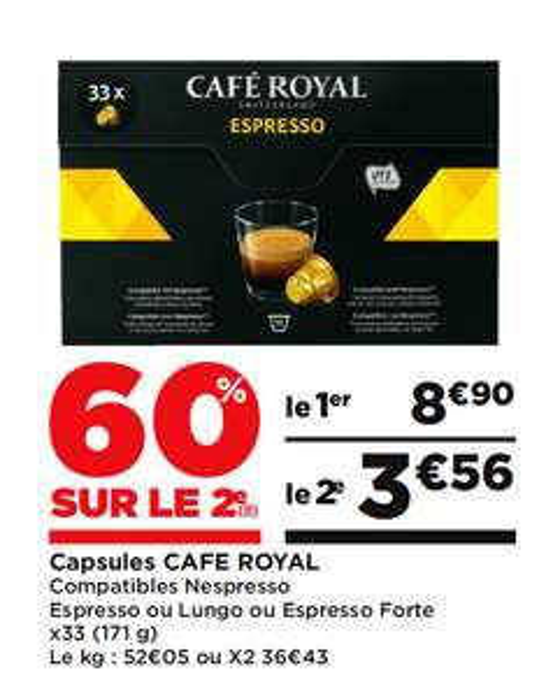 2 Paquets de 33 capsules de Cafe Royal compatible pour Nespresso (via BDR)