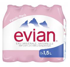 2 Pack de 8 bouteilles d'eau minérales naturelle Evian de 1.5L 23cts/l