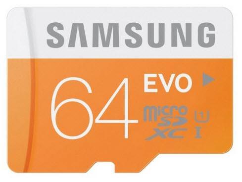 Carte mémoire MicroSDXC Samsung Evo 64 Go + Adaptateur