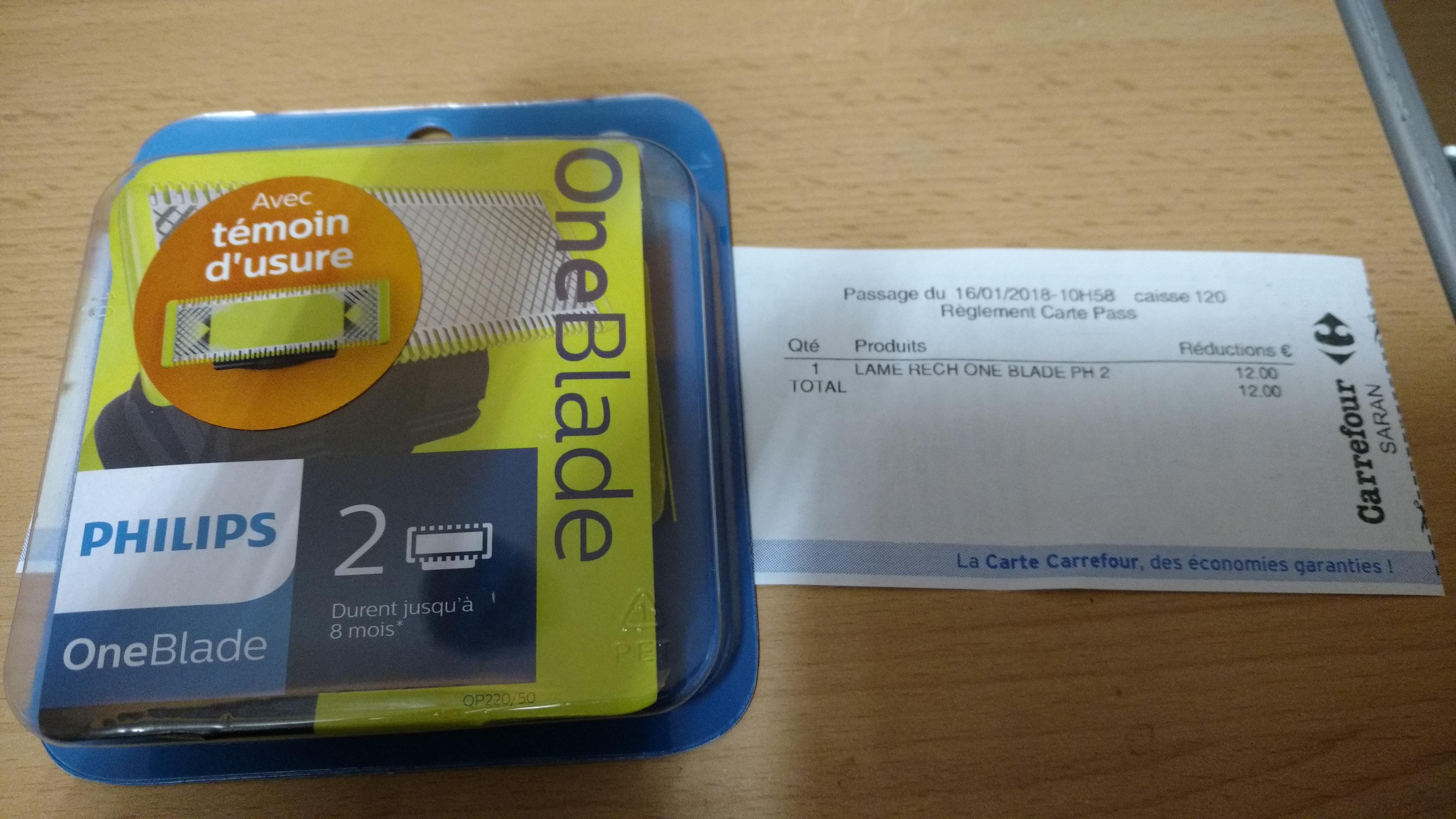 2 Lames OneBlade Philips (via 12€ sur la carte fidélité)