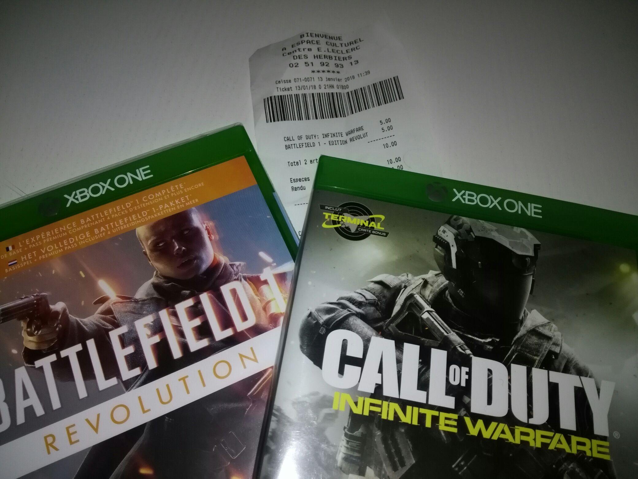 Battlefield 1 - Édition Revolution ou Call of Duty: Infinite Warfare sur Xbox One ou PS4 au E.Leclerc les Herbiers (85)
