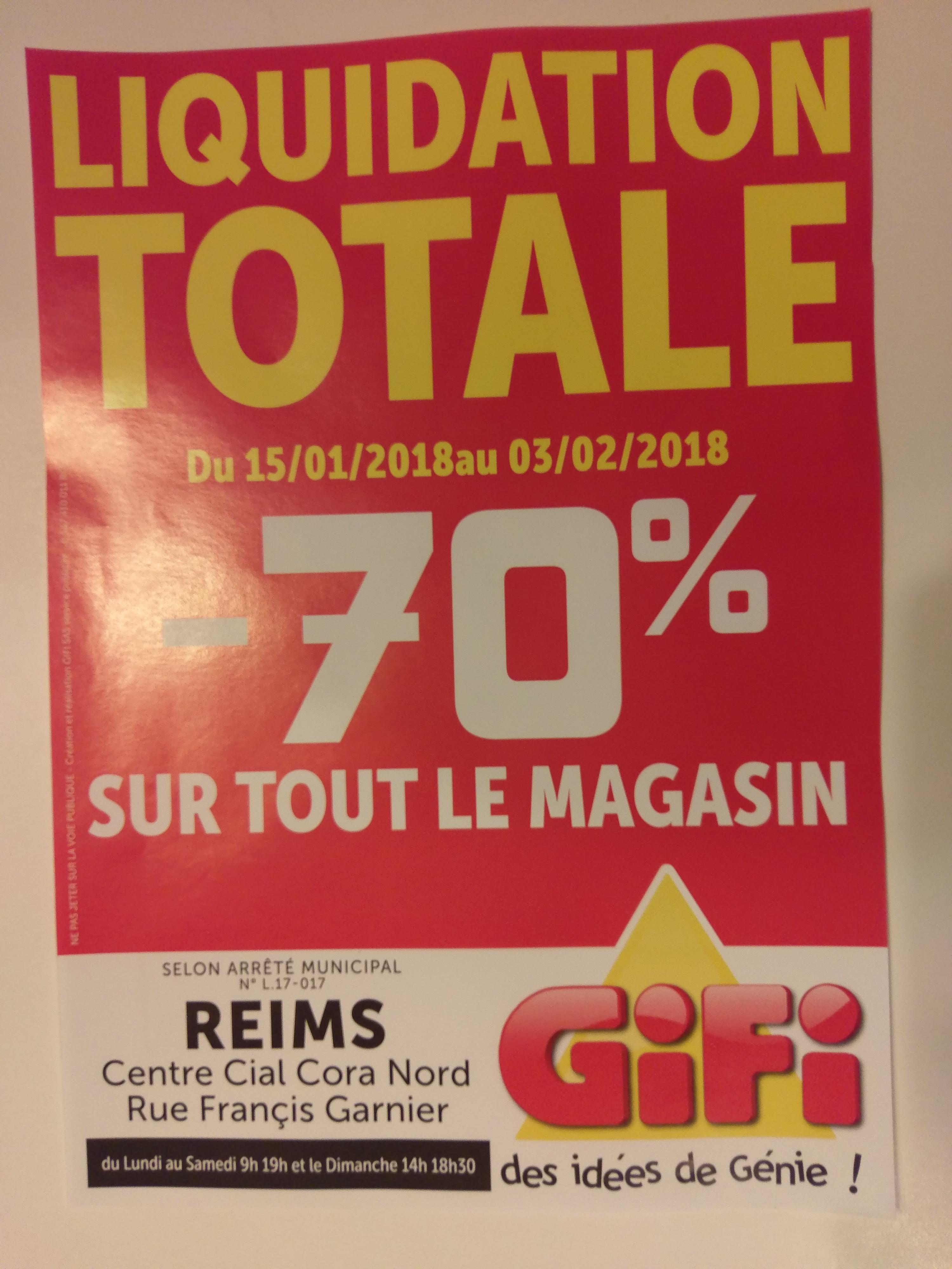 70% de réduction sur tout le magasin - Gifi Reims (51)