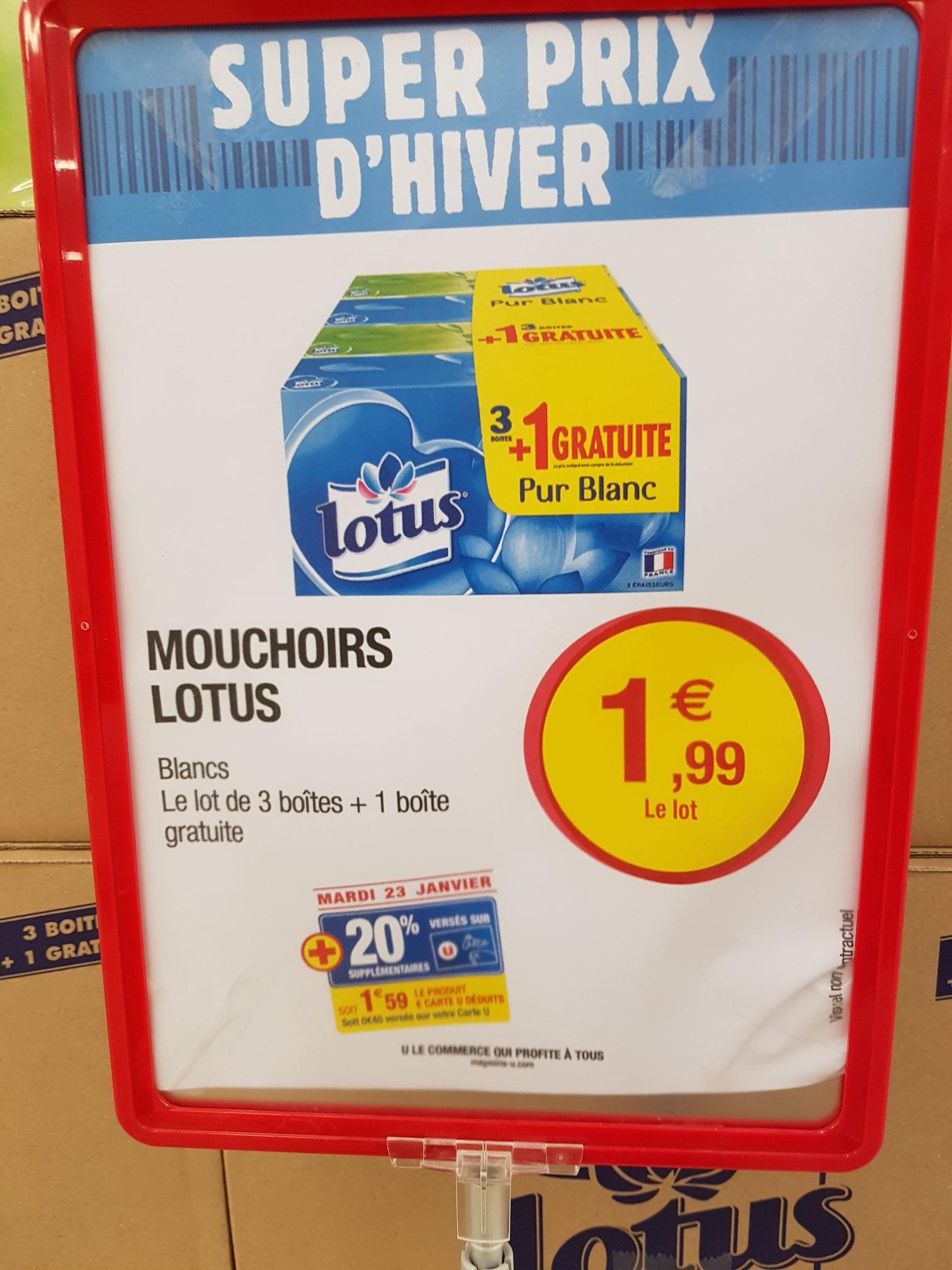 4 boîtes de mouchoirs Lotus pur blanc (via 20% fidélité)