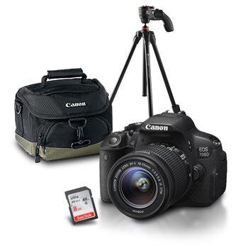 Pack Reflex Canon 700D + Objectif 18-55 IS STM + Sacoche + carte SD Sandisk Ultra 8 Go + trépied Vanguard