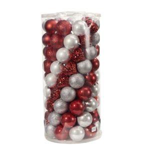 Lot de 100 Boules de Noël Carrefour DE62907 - Rouge / Argent (8cm)