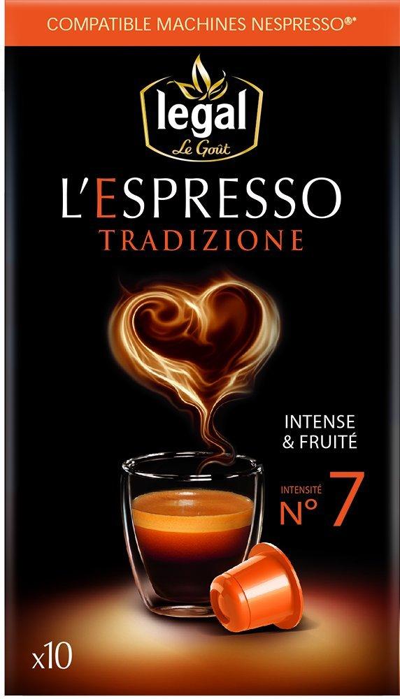 10 Capsules de café espresso tradizione Legal ou profondo ou eleganza ou sublimo - 50 g
