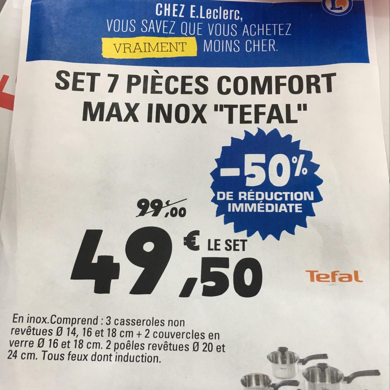 Set 7 pièces Tefal Comfort Max en inox - Tous feux (dont induction)