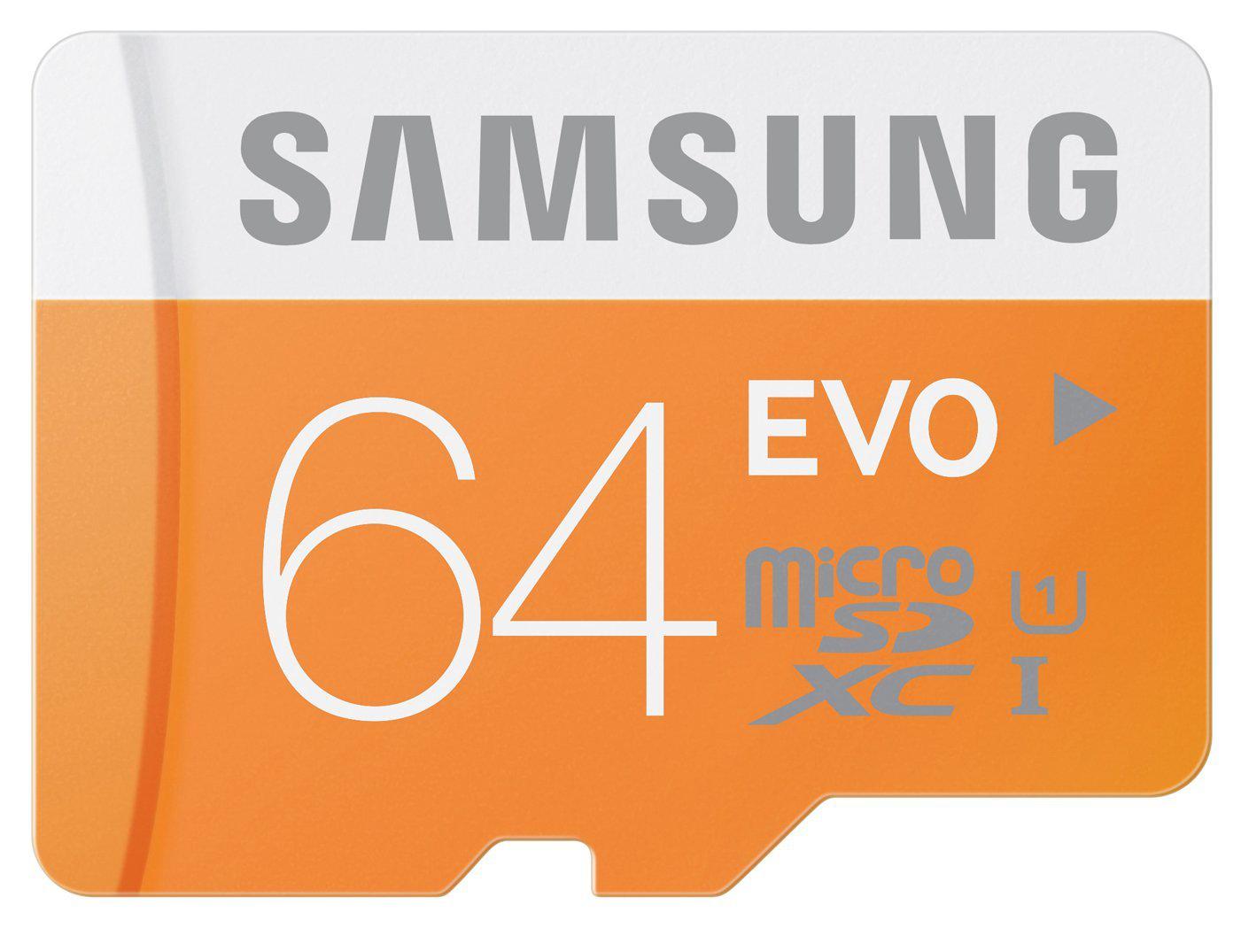 Carte mémoire microSDXC Samsung EVO 64 Go Classe 10 avec adaptateur