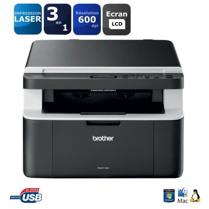 Imprimante Multifonction Laser Monochrome 3-en-1 Brother DCP1512A