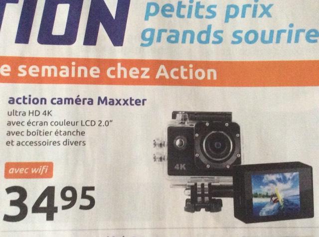 Caméra ultra HD 4K avec boîtier étanche et divers accessoires - Action Maxxter