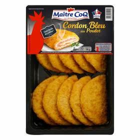 Barquette de Cordon bleu de poulet Maître Coq - 1 Kg (Egalement nuggets ou Poulet pané)