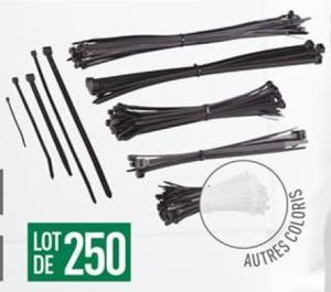 Lot de 250 serre-câbles PowerFix Profi+ - différentes épaisseurs et longueurs