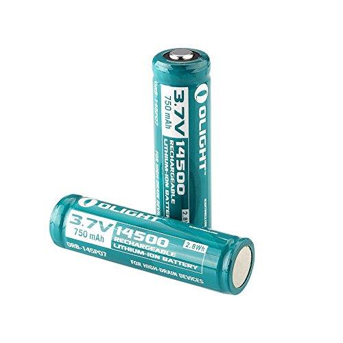 Olight 2 Piles Rechargeables 14500 Accus Batterie Lithium-ion 3.7V 750mAh 2.8Wh (vendeur tiers)