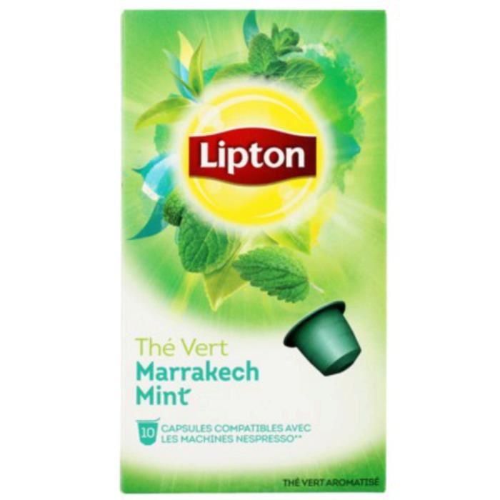 1 paquet de 10 Capsules de Thé vert Lipton marrakech mint (via Quoty + Plyce)