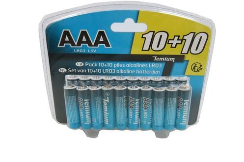 Pack de 20 piles alcalines LR03 (AAA)