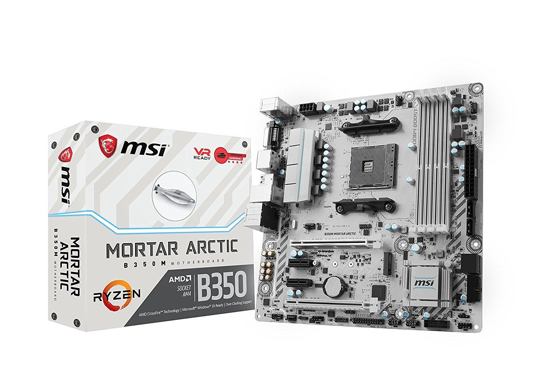 Carte mère micro ATX MSI B350M mortar arctic - Socket AM4 AMD - 4x DDR4 - SATA 6Gb/s + M.2 - USB 3.0 - 1x PCI-Express 3.0 16x - LED