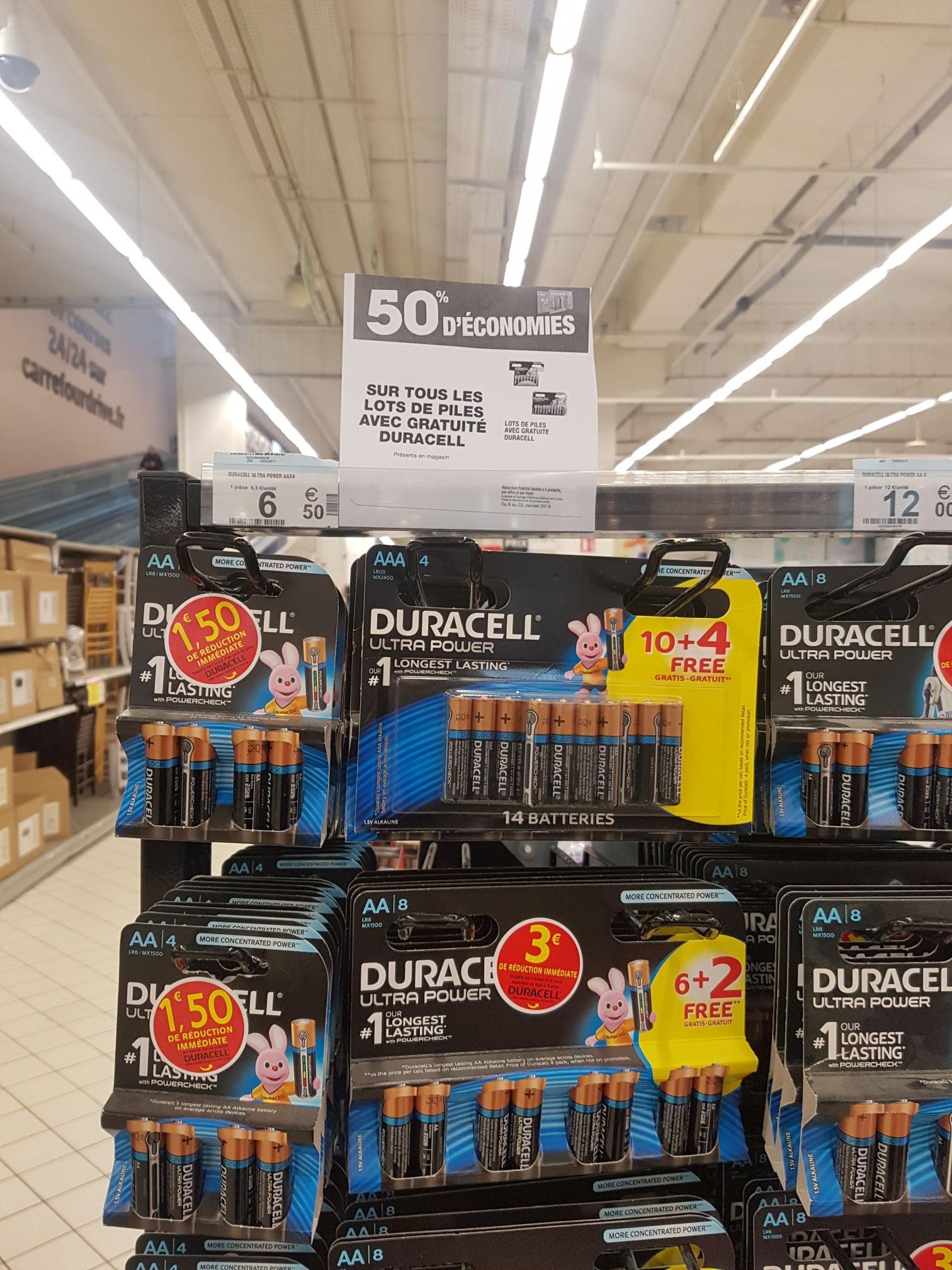 Lot de 8 piles Duracell AA (via 4.45€ sur la carte + BDR de 3€) - Carré Sénart (77)