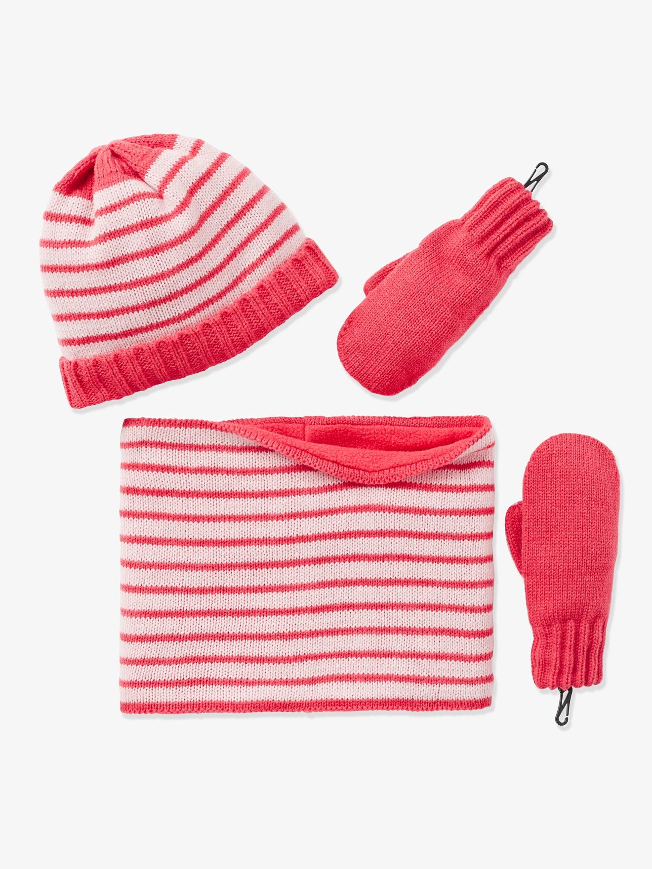 Ensemble fille bonnet + snood + gants - rose pâle rayé