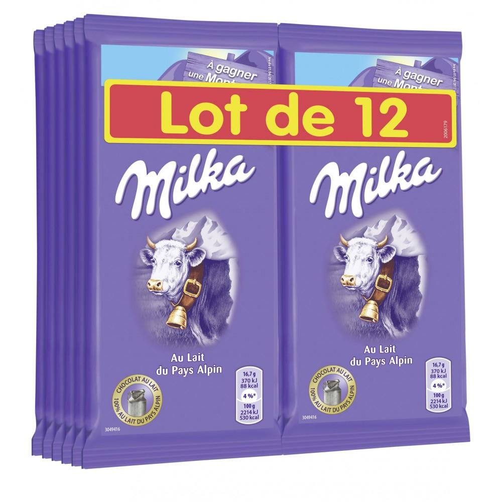 Lot de 12 tablettes de chocolat Milka (12 x 100 g)