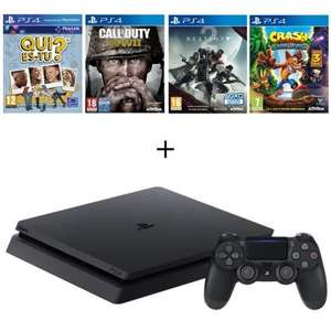 Pack console Sony PS4 Slim (500 Go) + Crash Bandicoop N. Sane Trilogy + Call of Duty: WWII + Destiny 2 + Qui es-tu ?