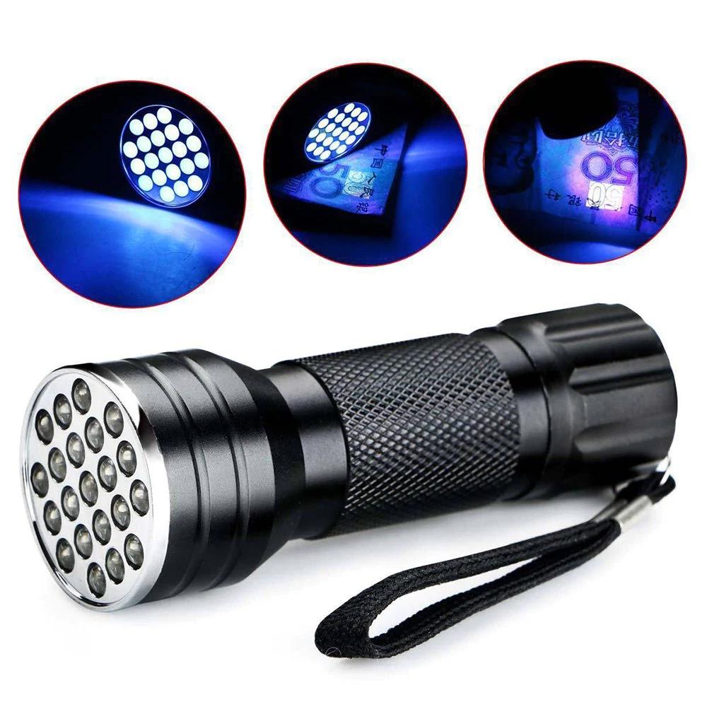 Lampe de poche à UV en aluminium - 21 LED