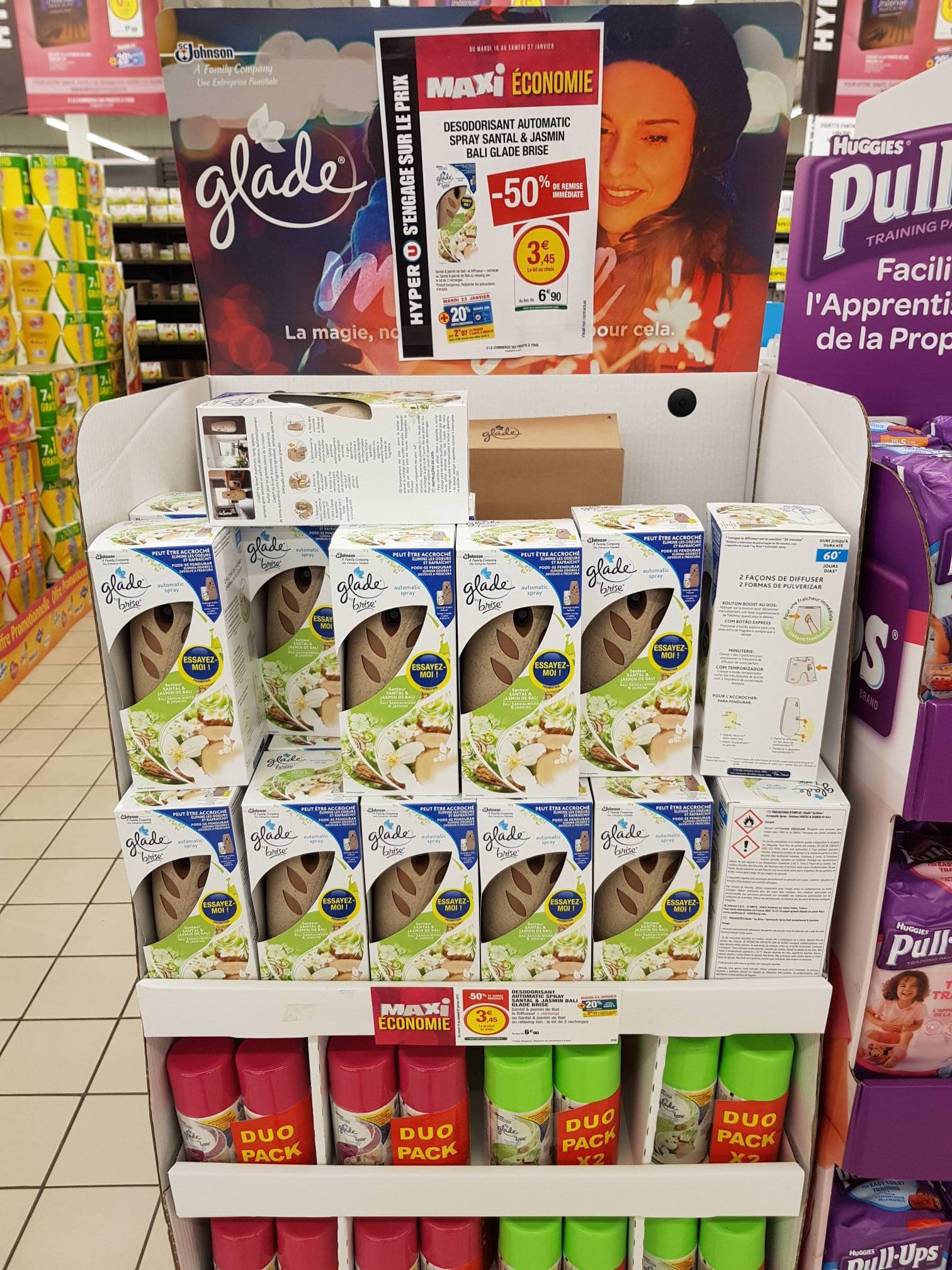 Spray désodorisant Glade Automatic - Santal & Jasmin de Bali (via Shopmium) au Hyper U Puilboreau (17)