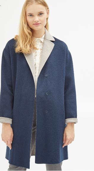Manteau en laine et chanvre Cacharel  - Bleu marine