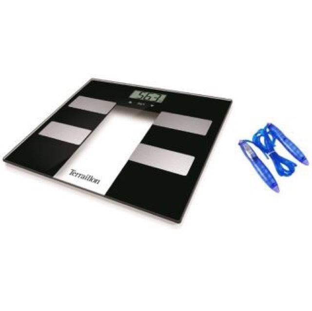 Pèse personne Terraillon Coach Impédancemètre - Noir - Capacité 160kg + Corde à sauter offerte