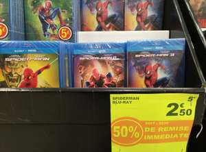 Sélection de Blu-ray Spider-Man (+ version numérique) à 2.5€ à Auchan Illkirch-Graffenstaden (67)