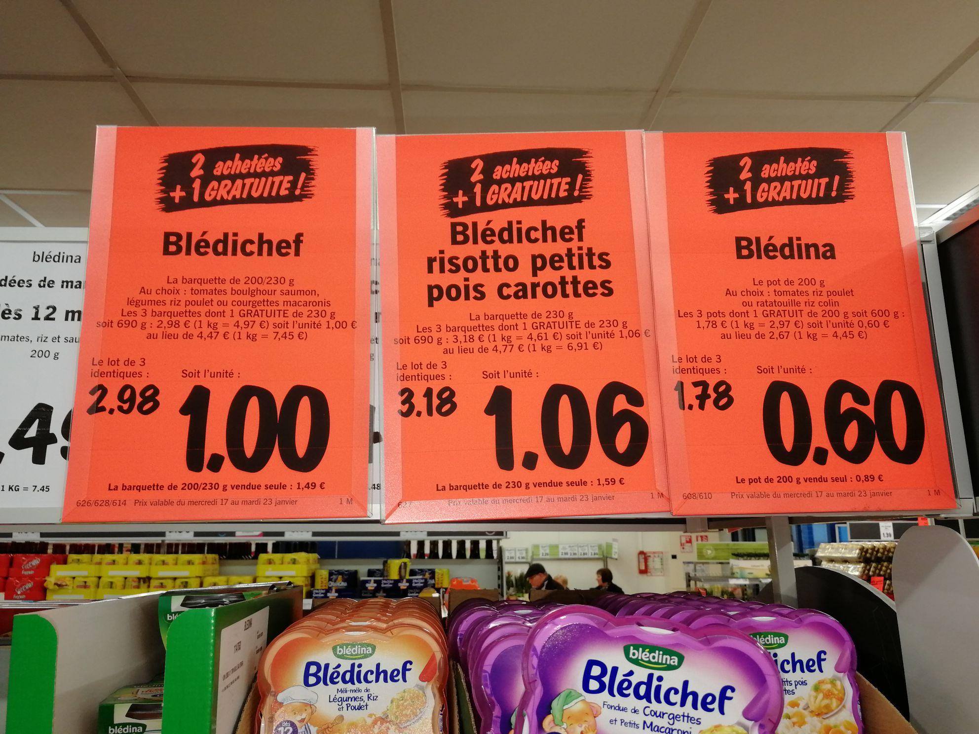 Lot de 3 plats pour bébé Blédina Blédichef - différents goûts en promotion - Ex : 2 barquettes (200 - 230 g) achetées = 1 gratuite