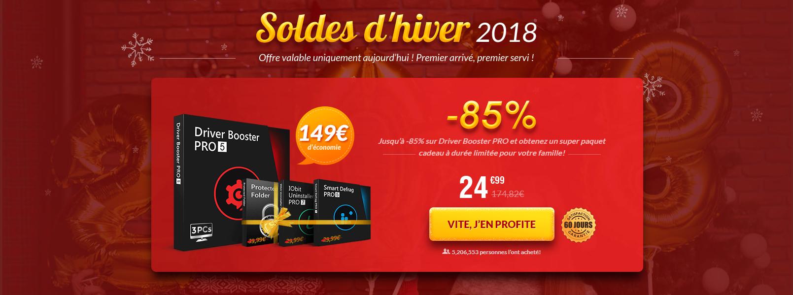 Driver Booster PRO + Smart Defrag 5 PRO + Protected Folder + IObit Uninstaller 7 PRO sur PC