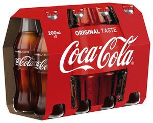 Pack de 8 bouteilles en verre Coca-Cola - 20 cl à 3.43€ (ou 2.45€ le mardi 23 janvier, via 0.98 € sur la carte fidélité)