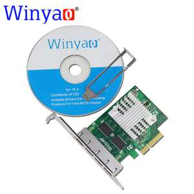 Carte réseau Winyao - Gigabit 4 ports PCI-E x4, Intel I350-T4