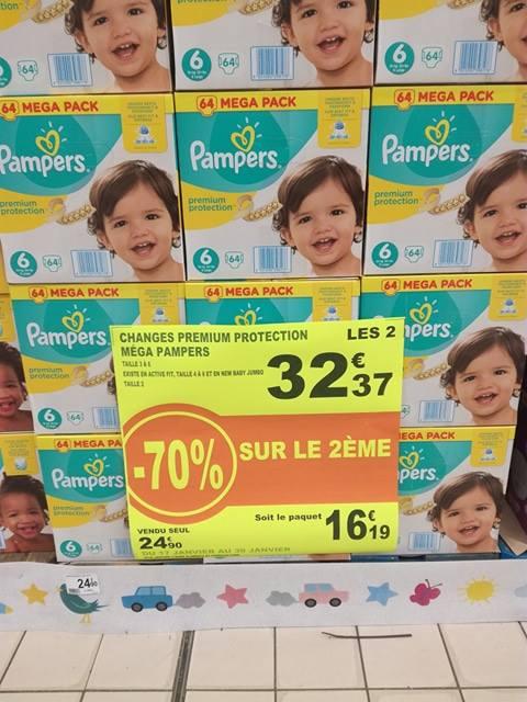 Lot de 2 paquets de couches Mega Pampers - 64 couches (Fontenay-sous-Bois - 94)