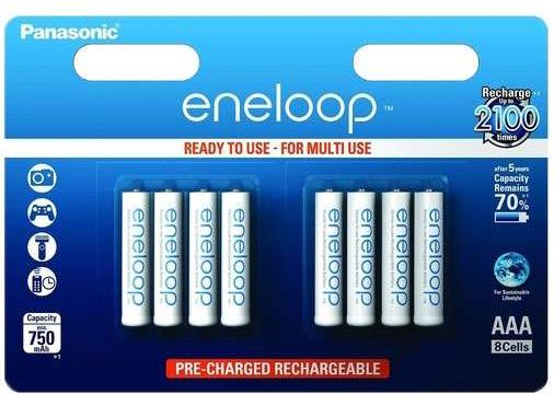 Lot de 8 piles rechargeables AAA Panasonic Eneloop - 750mAh
