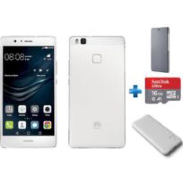 "Smartphone 5,2"" Huawei P9 Lite Blanc - FullHD, 3Go RAM, 16Go de ROM + Flip Cover P9 Lite Grise + Batterie externe 6600mAh + Carte microSD 16Go"