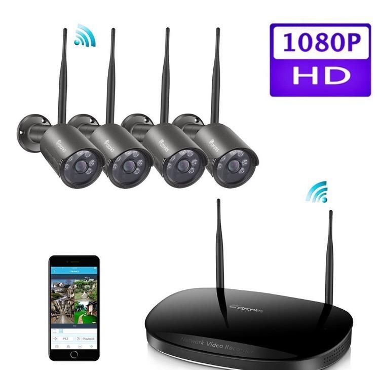 Système de vidéosurveillance sans fil Ctronics avec 4 caméras 1080p (vendeur tiers)