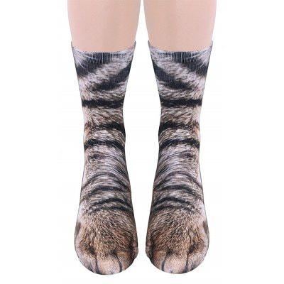 Sélection de chaussettes avec imprimés pattes d'animaux - Ex : chat
