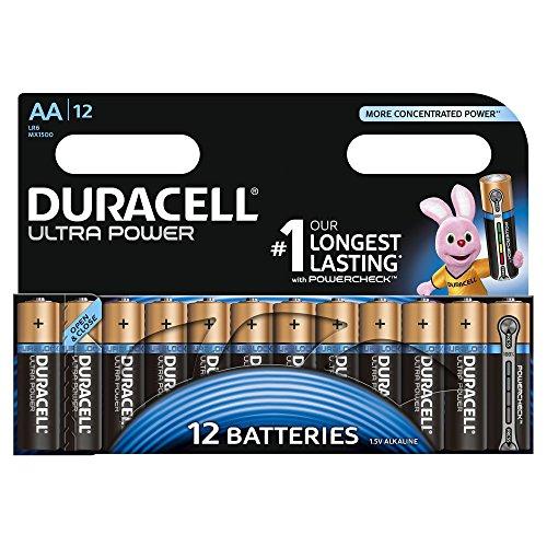 Lot de 12 piles alcalines Duracell Ultra Power avec Powercheck - AA 1.5V