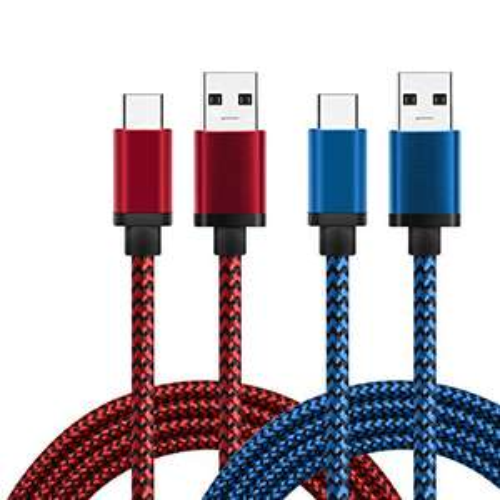 Lot de 2 Câble USB Type-C en Nylon - Rouge et Bleu (veneur tiers)