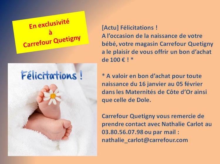 [Nouveaux parents] Bon d'achat de 100€ offerts pour toute naissance du 16 janvier au 5 février au Carrefour Quetigny (21)