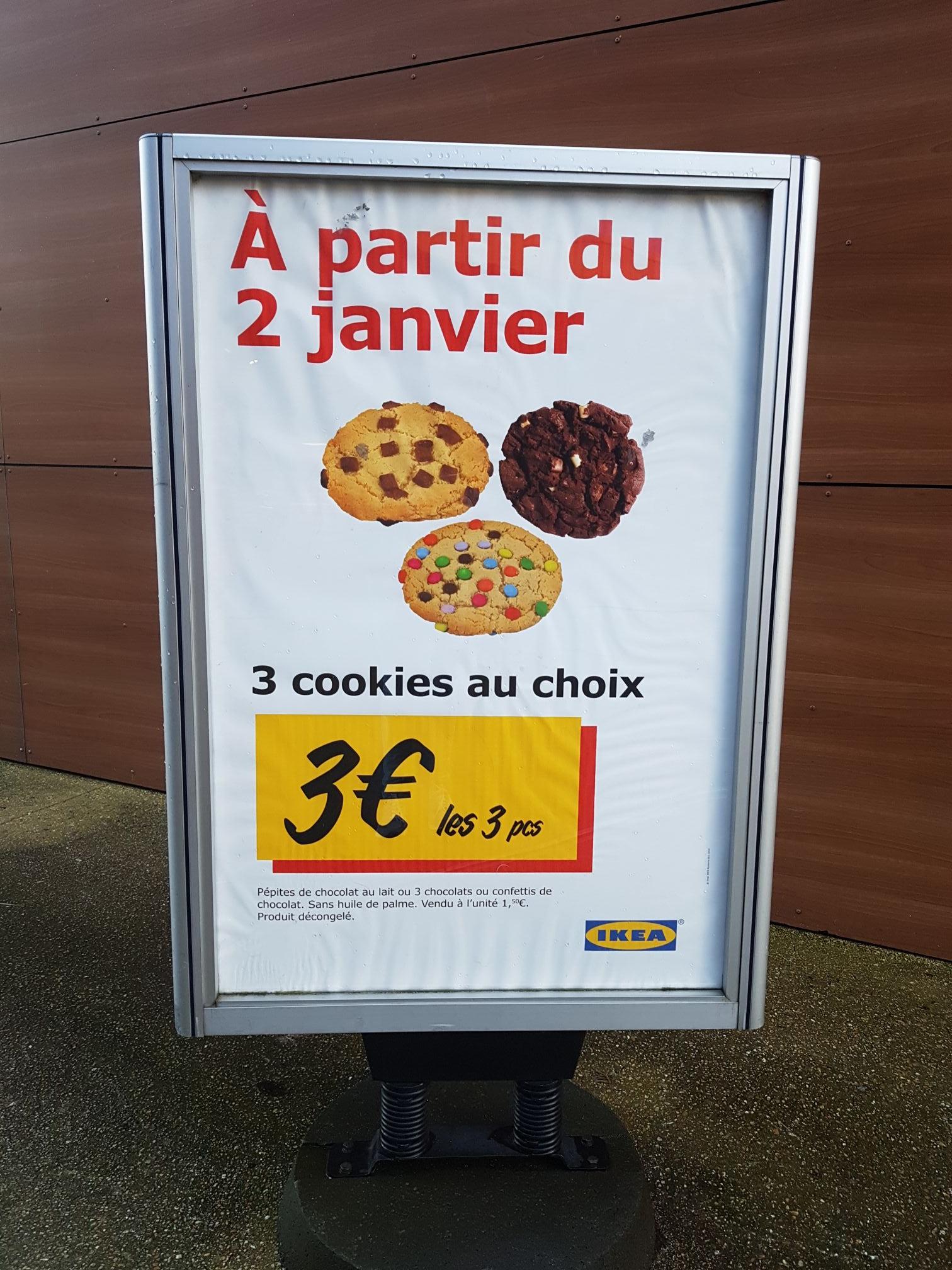 Lot de 3 cookies au choix chez Ikea Thiais (94)