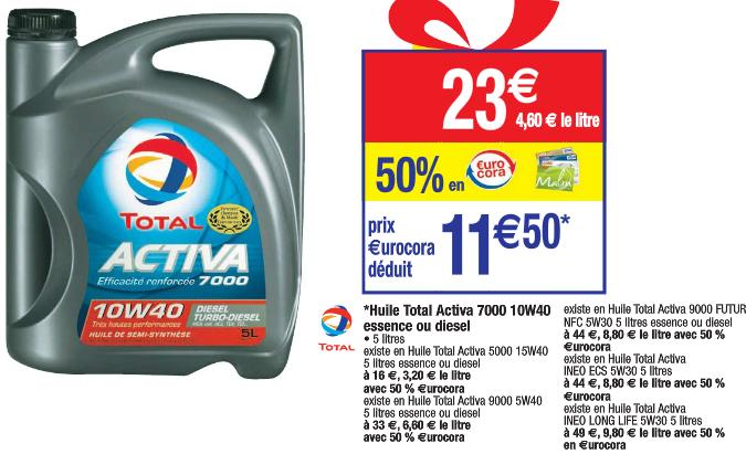 Huile moteur essence ou diesel Total Activa 10W40 5L (50% sur la carte Cora + bdr 2.5€)