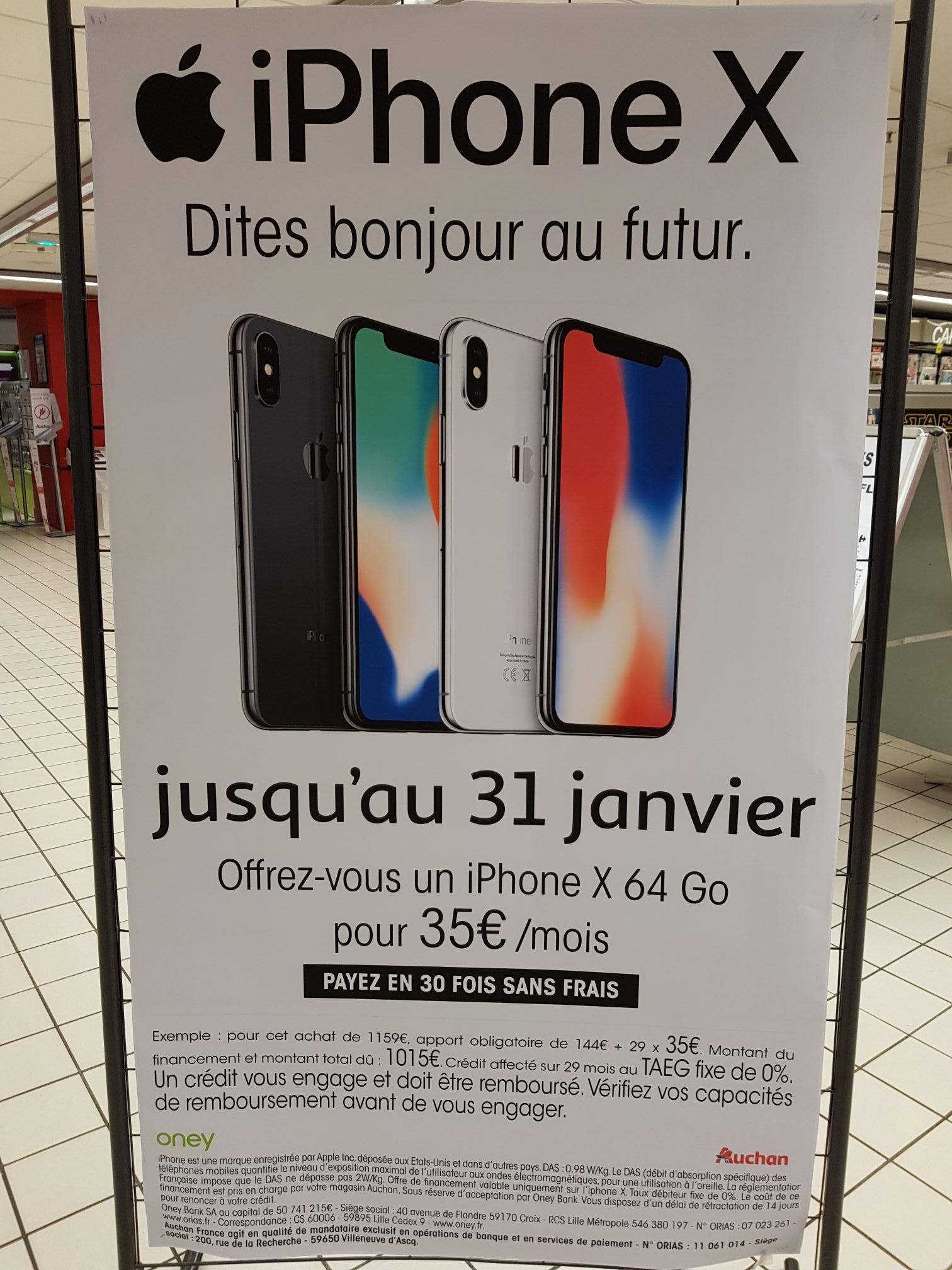 """Smartphone 5.8"""" Apple iPhone X - 64 Go - Paiment en 30x sans frais (30 x 35€/mois)"""