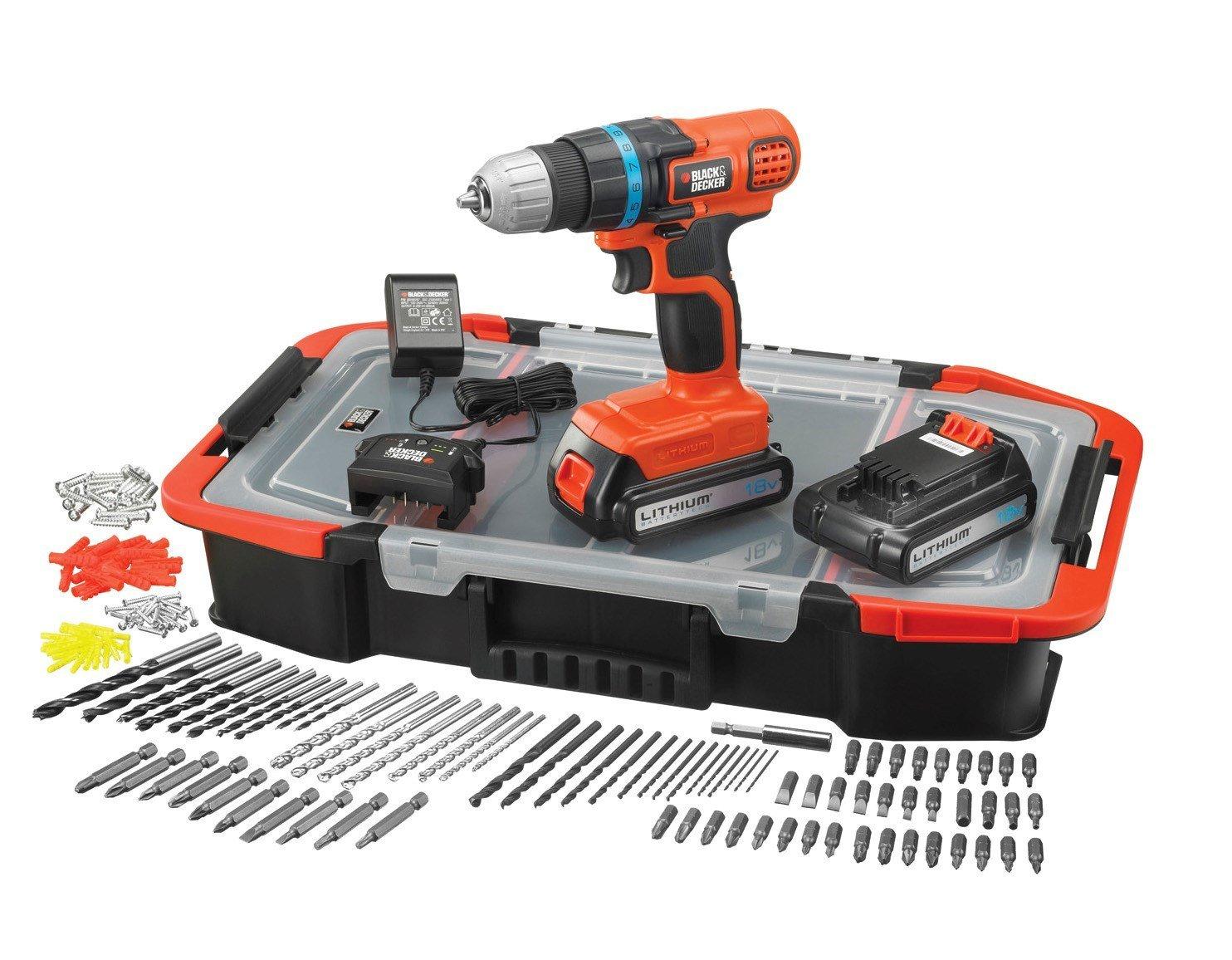 Perceuse sans fil Black&Decker + 2 batteries 18v + 165 accessoires + caisse - Rezé (44)